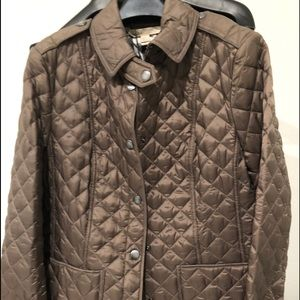BNWT BURBERRY QUILTED JACKET TAUPE GRAY SZ MEDIUM